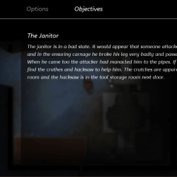 Objectives screen with blurred background